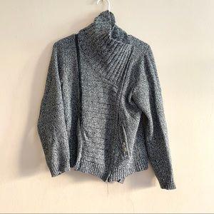 New York & Company Gray Moto sweater jacket Medium